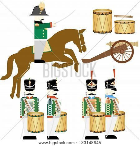 Army soldiers in Russian uniforms and weapons were used in the 1812 war. The illustration on a white background. poster