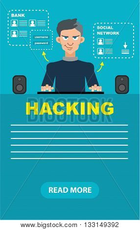Flat style hacker attack intruding laptop computer internet web system crack password security concept web infographics vector illustration.