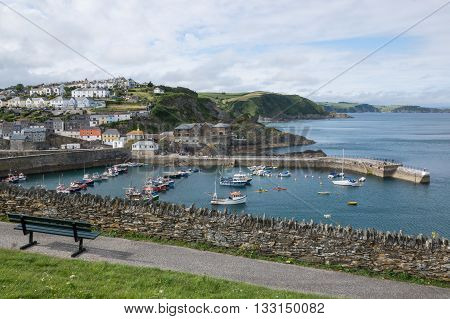 Looking down on Mevagissey Harbour Cornwall England