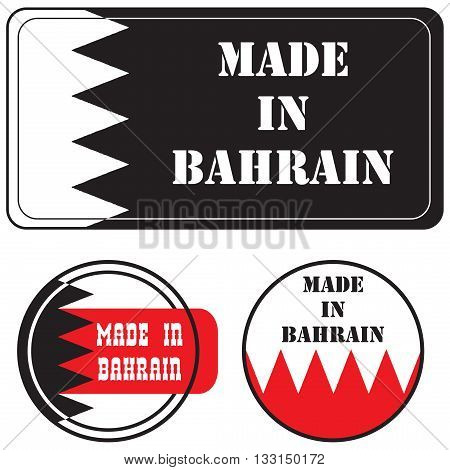 A set of Impression - Made in Bahrain. Vector illustration.