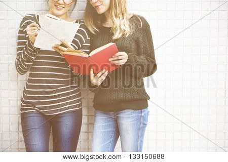 Women Talking Friendship Studying Brainstorming Concept