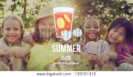 Summer Glass Lemonade Drink Graphic Concept