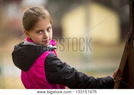 Portrait of little girls outdoors.