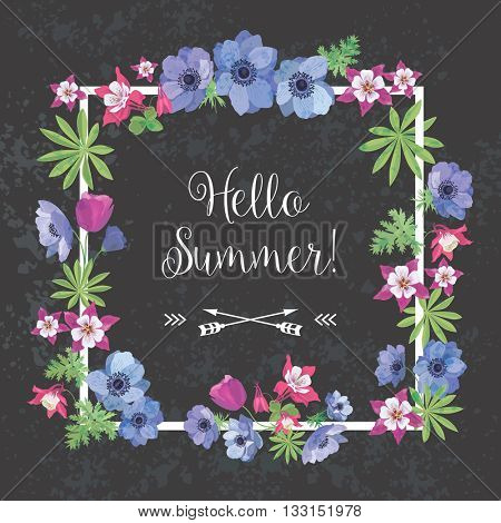 Summer Floral Frame. Flower Design for T-shirt. Greeting Card with Anemone and Fuchsia.