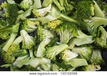 Cooking clean food Boiled Broccoli in a Pan