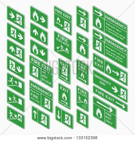 Exit isometric sign vector set isolated