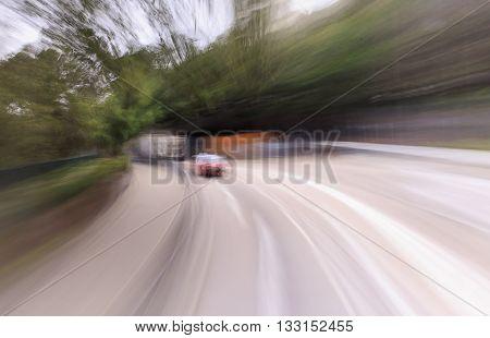 blurred traffic car motions on street , Hongkong