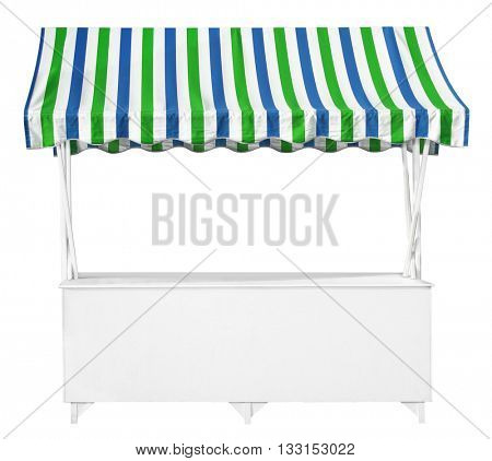 White market stall with blue green striped awning