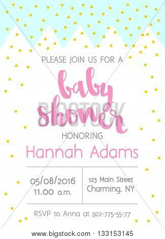 Vector Cute Baby Shower Invitation With Lettering For Girl. Abstract Background With Crown And Gold