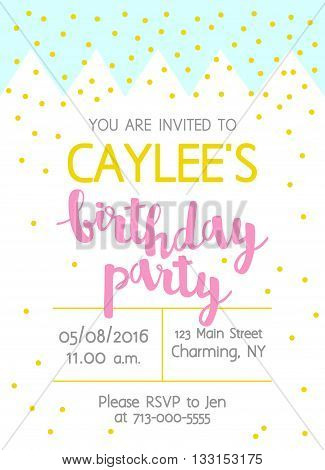 Vector Cute Kids Birthday Party Invitation With Lettering For Girl. Modern Geometric Background With