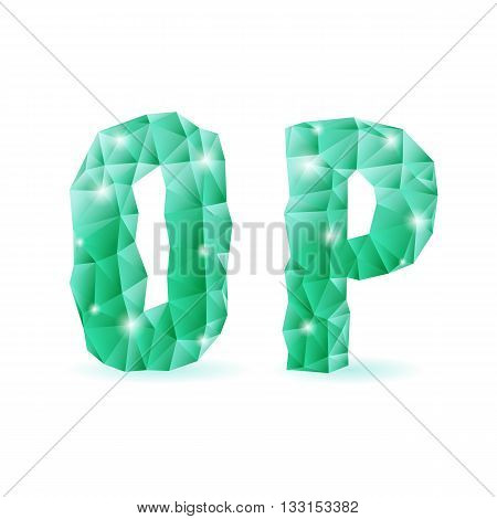 Shiny emerald green polygonal font. Crystal style O and P letters