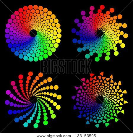 Color wheel or color circle icons set, isolated on black background