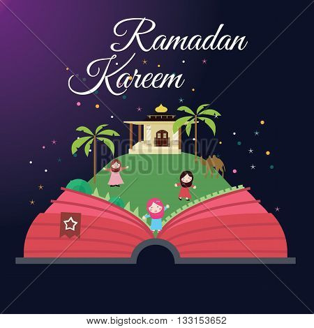 Ramadan greeting cards kids and mosque with starry night Islam celebration month vector