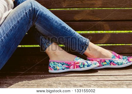 young woman  in comfortable summer shoe