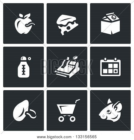Spoiled food, dirt, insanitary. Isolated symbols on a black background