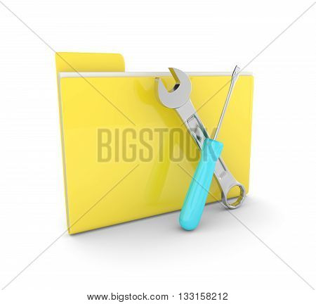 3d folder with wrench and screwdriver isolated on white background. Computer service concept.