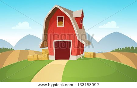 Mountain countryside landscape with red farm barn, cartoon vector illustration.