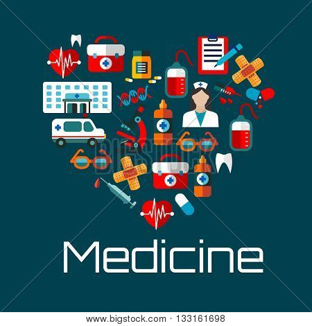 Healthy heart symbol for health care concept or medical services design with flat icons of doctor, hospital and ambulance, blood bags, hearts, pills, teeth and DNA, syringes, first aid kits and microscope, glasses, plasters and medical test clipboards
