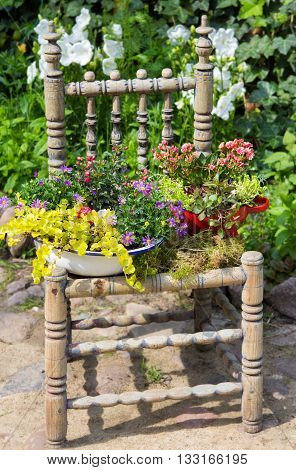 Garden Decoration With A Old Chair.