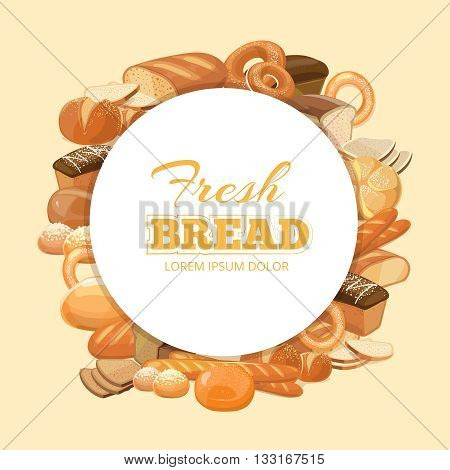 Different kinds bread vector background. Cereal bread natural and emblem with product bread and bakery illustration