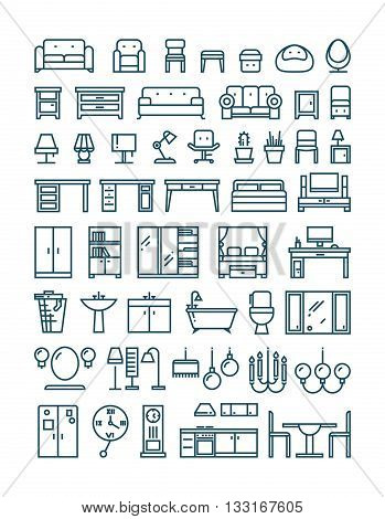 Furniture and sanitary line thin vector icons. Furniture interior set icon and furniture for home room kitchen and bathroom illustration poster