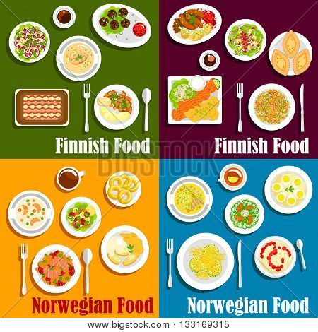 Seafood dishes of finnish and norwegian cuisine icon of salmon and herring served with boiled potatoes, vegetable salads, stews and soups, blood sausages, meat balls and rice porridge with jam, pancakes and donuts, fish rye and rice pies. Flat style