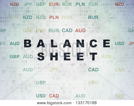 Banking concept: Painted black text Balance Sheet on Digital Data Paper background with Currency