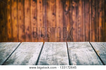 Empty table. Empty wooden table. Empty wooden interior. Empty space for your products and information.
