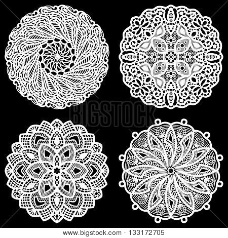 Set of design elements lace round paper doily doily to decorate the cake festive doily doily - a template for cutting lacy snowflake greeting element package lace pattern vector illustrations