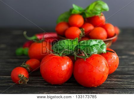Tomatoes On Vine, Red Chilli And Green Basil