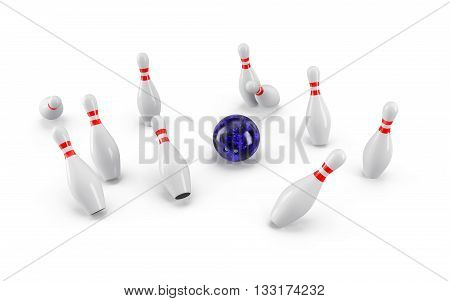 Bowling Ball crashing into the pins isolated on white background. With shadow. Perspective view. For logo, advertising, wallpaper, print etc.