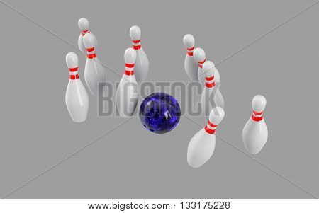 Bowling Ball crashing into the pins isolated on grey background. Without shadow. Perspective view. For logo, advertising, wallpaper, print etc.