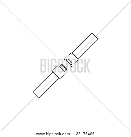 Vector thin line icon safety belt. Clasp. Simple mono linear pictogram. symbol of the security