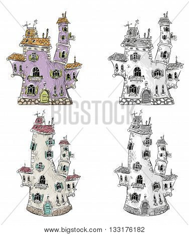 Fantasy houses drawing, vector illustration eps 10
