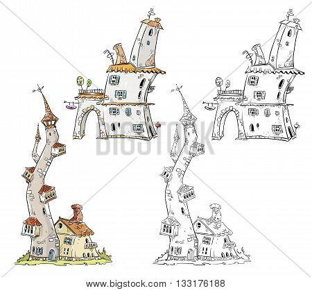 Fantasy houses drawing, vector illustration eps 10