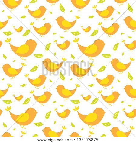 Seamless pattern with green leaves and birds on a light background