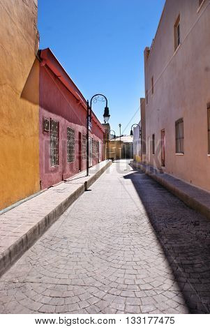 Street view in the colonial city of Hidalgo del Parral in the north-Central Mexico