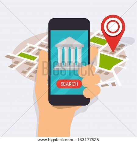 Hand holding mobile smart phone with mobile app bank search. Vector modern flat creative info graphics design on search atm application. Flat design modern vector illustration concept.