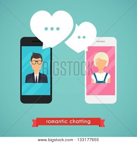 Online chat man and woman. Online dating graphic concept. Couple chat on a cell phone. Cartoon man and woman. Flat vector design.
