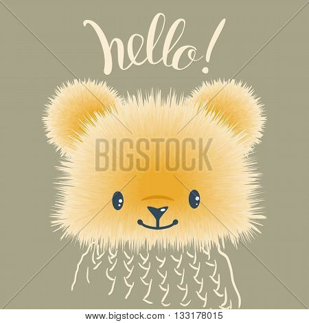 "Hand Lettering ""Hello!"" and fluffy Teddy bear. Hand-drawn illustration. Vector."