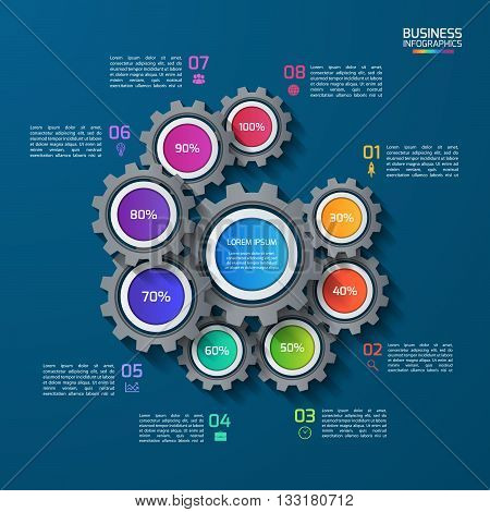 Vector infographic template with gears cogwheels. Business and industrial concept with 8 options parts steps. Can be used for infographics diagram graph presentation report.