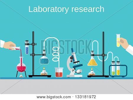 Chemists scientists equipment. flat design workspace concept. Chemistry and physics biology infographic icons. Laboratory lab with microscope, alembic vial hourglass dropper, vector illustration