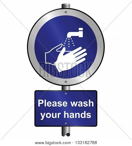 Mandatory health and safety please wash your hands sign to current British Standards mounted on post isolated on white background