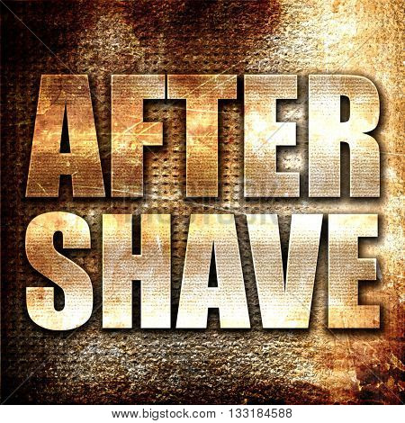 aftershave, 3D rendering, metal text on rust background