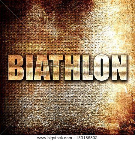 biathlon, 3D rendering, metal text on rust background
