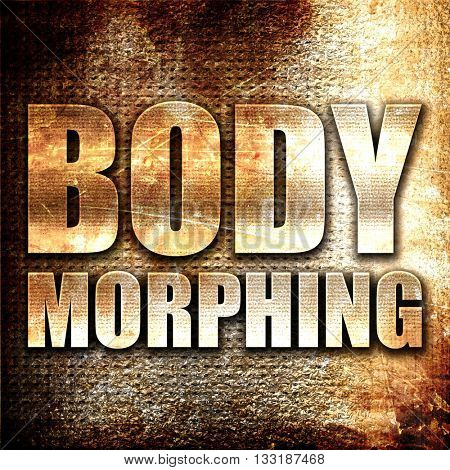 body morphing, 3D rendering, metal text on rust background