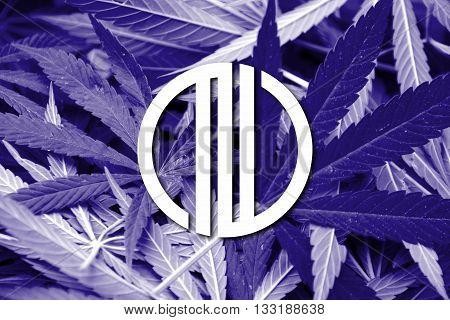 Flag Of Sendai, Japan, On Cannabis Background