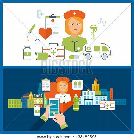 Vector illustration concept for healthcare, medical help and research. Online medical diagnosis and treatment. Medical first aid. Healthcare worker. Medical center and hospital building