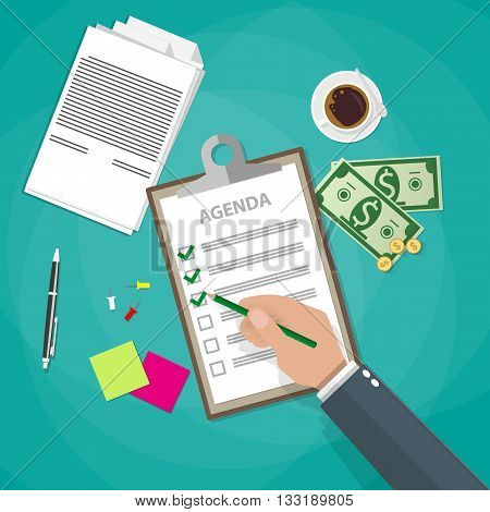 Cartoon businessman hand with pen and Agenda papers in clipboard Business concept, coffee cup, documents, sticky notes. vector illustration in flat design