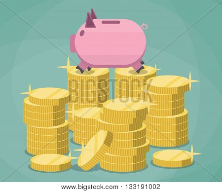 Pink piggy bank and stacks of gold coins on green background. savings, investment, vector illustration in flat design.